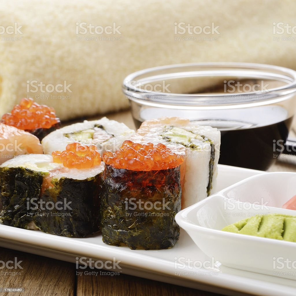Mixed sushi on a white plate royalty-free stock photo