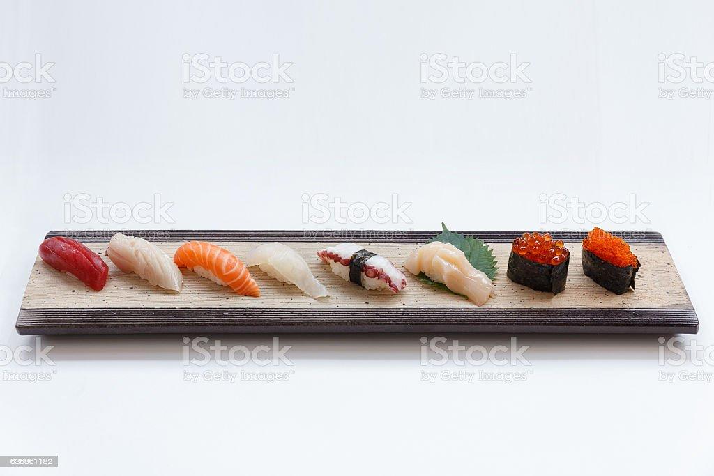 Mixed Sushi Set on the Stone Plate. stock photo
