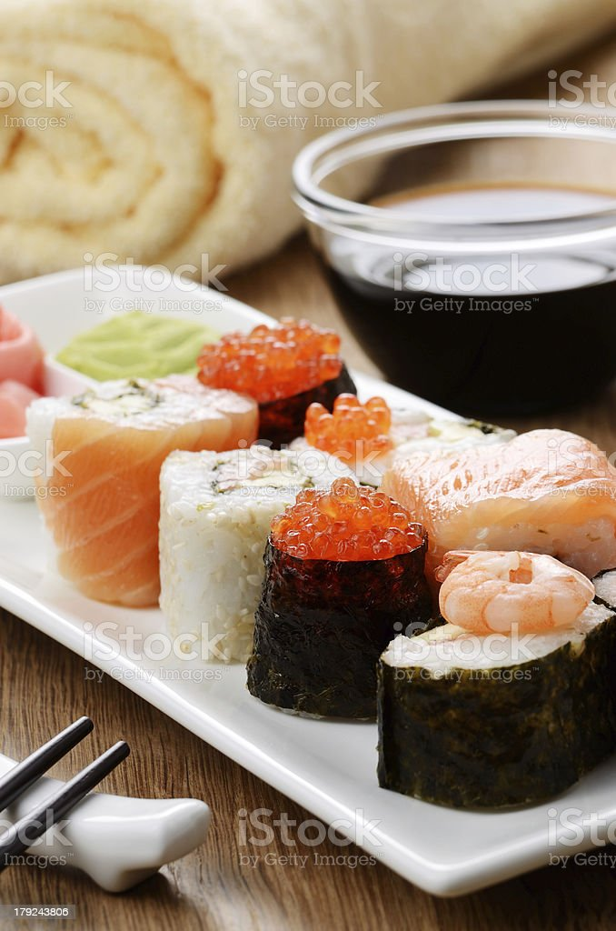 Mixed sushi set royalty-free stock photo