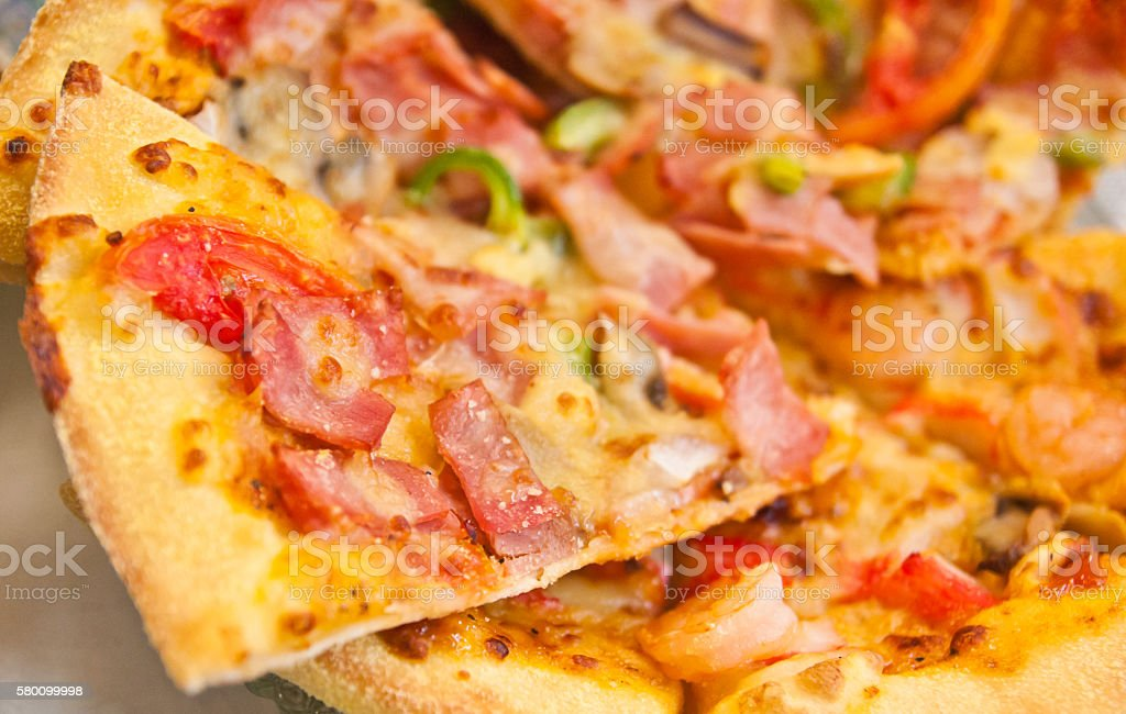 Mixed topping pizza stock photo