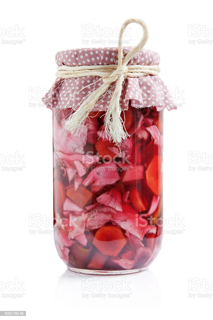 Mixed vegetable pickles in a jar stock photo
