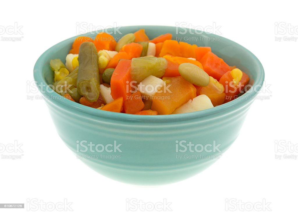 Mixed vegetables in a small bowl stock photo