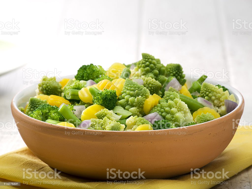 mixed vegetables in terracotta bowl royalty-free stock photo