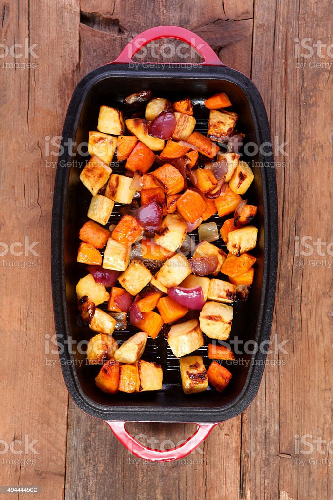 Mixed vegetables roasted in a pan stock photo