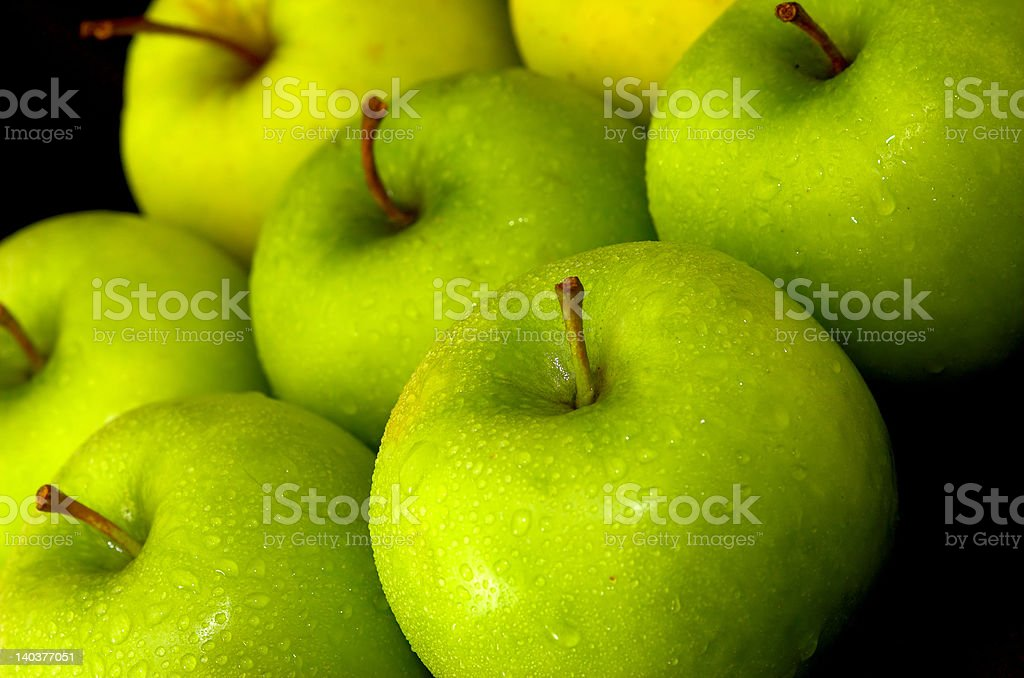 Mixed Whole Green Apples royalty-free stock photo