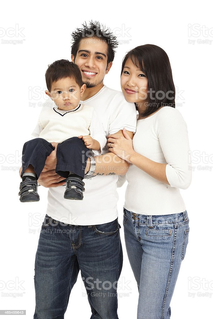 Mixed-race Family of Three on White royalty-free stock photo