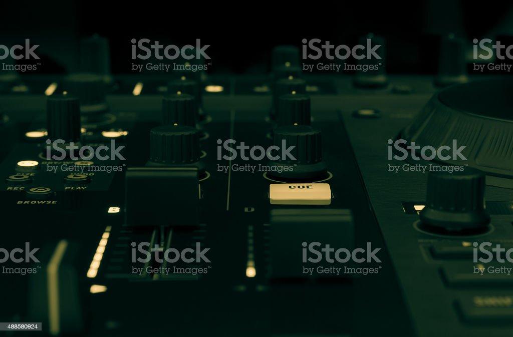 DJ mixer in a music studio, close up. stock photo