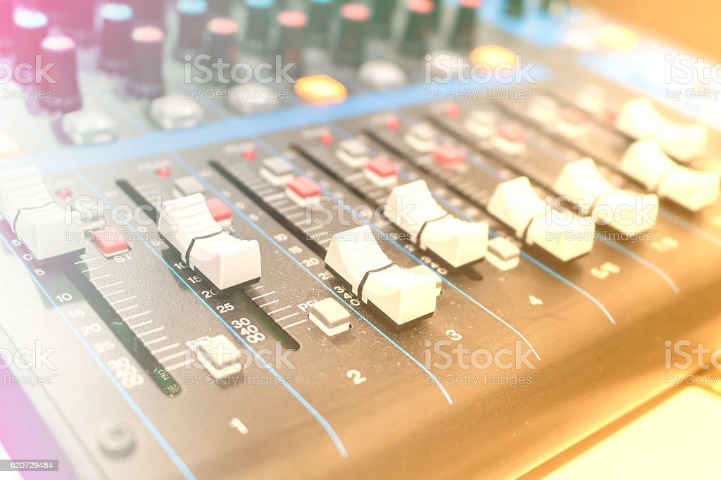 Mixer in recording room. Making light soft stock photo
