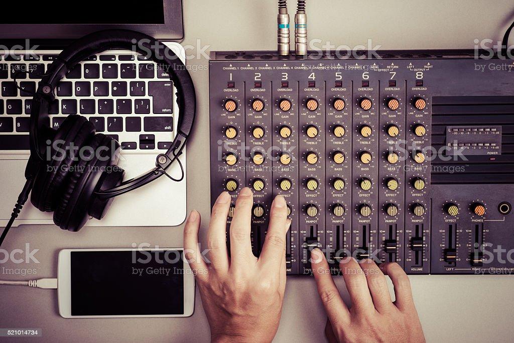 Mixer, laptop and smartphone stock photo