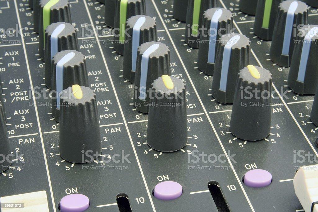 Mixer Pan Knobs stock photo