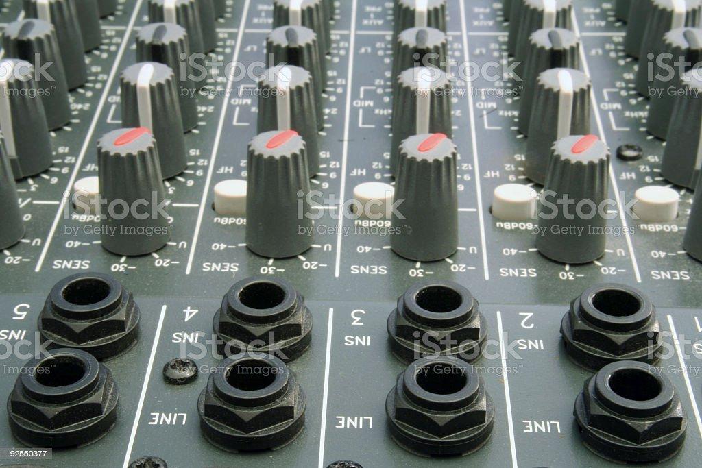 Mixer Sockets and Knobs stock photo