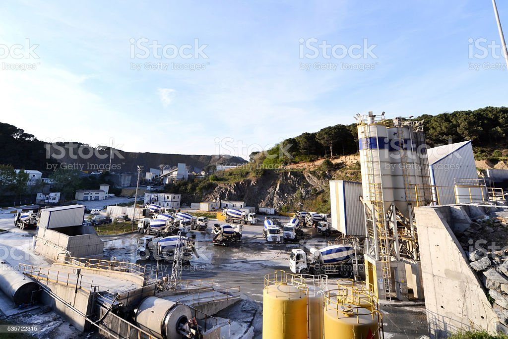 Mixer Truck leaving a Cement Factory stock photo
