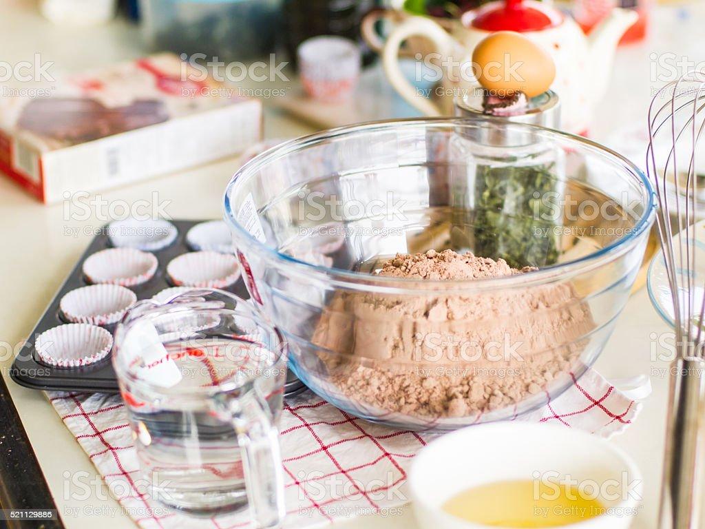 mixing a cake dough chocolate. stock photo