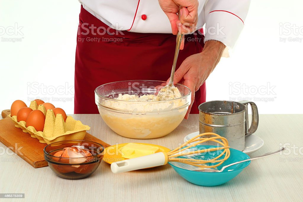 Mixing batter. Making bundt cake with chocolate glaze. royalty-free stock photo