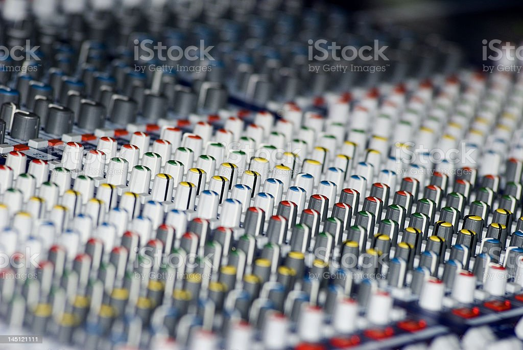 Mixing board control nobs stock photo