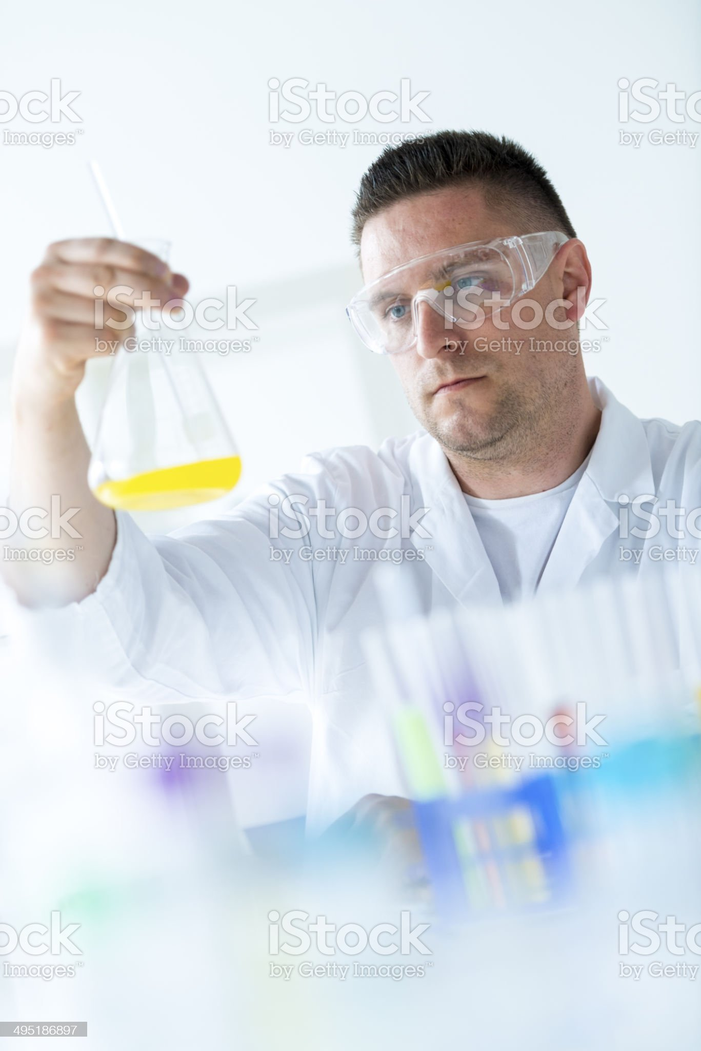 Mixing chemicals royalty-free stock photo