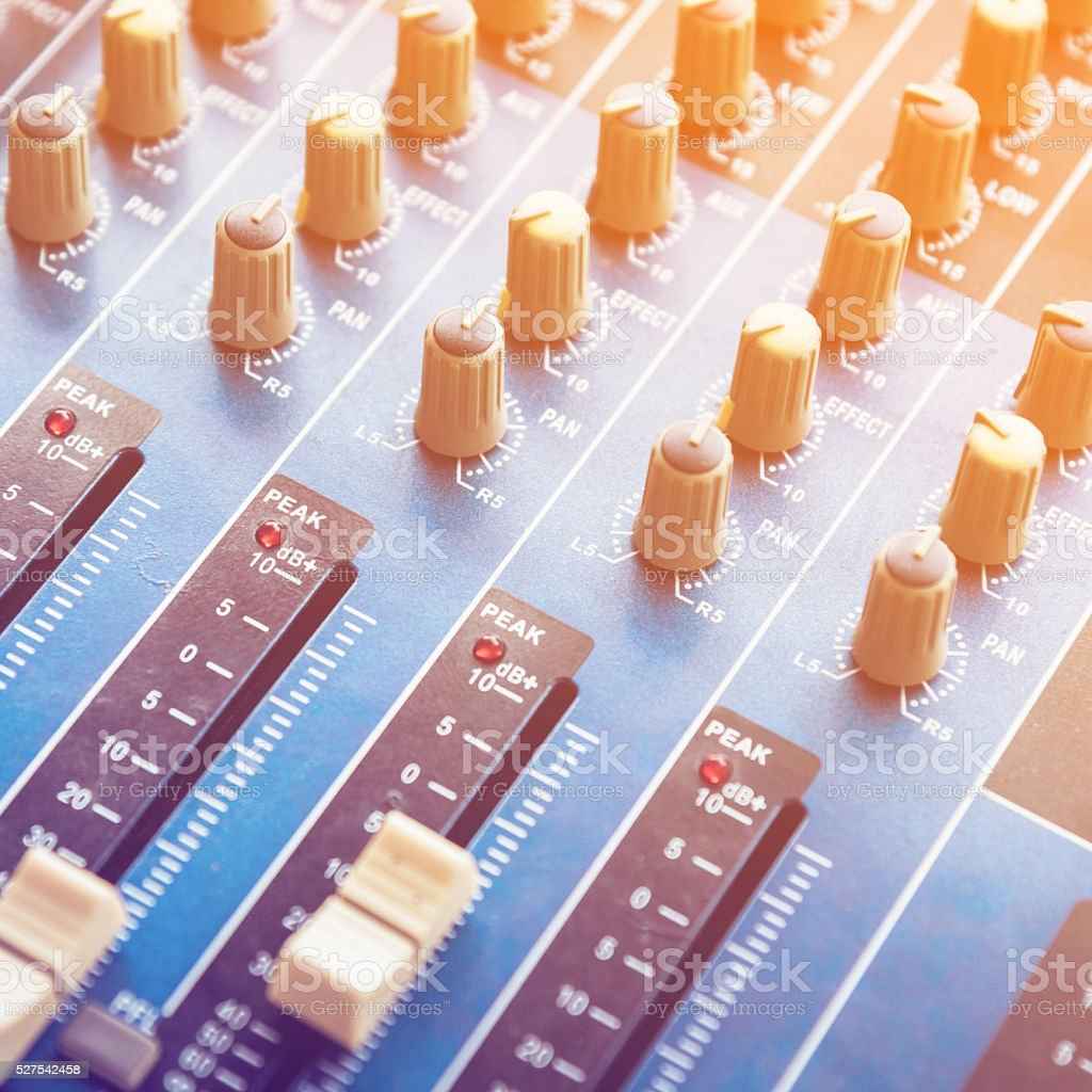 mixing console and color tone effect stock photo