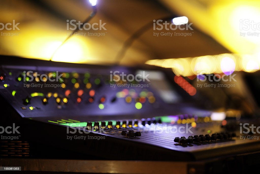 Mixing Console at concert stock photo