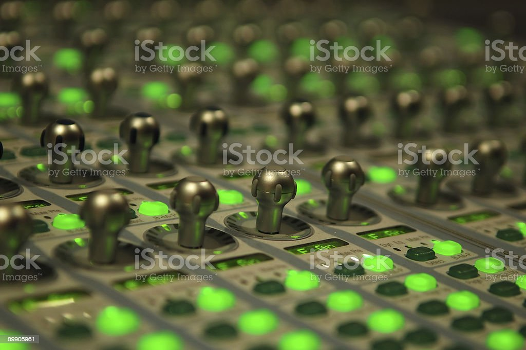 mixing console close-up shot royalty-free stock photo