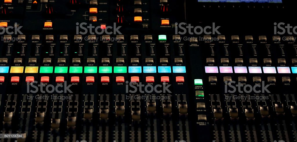 Mixing Console e of a big HiFi system stock photo