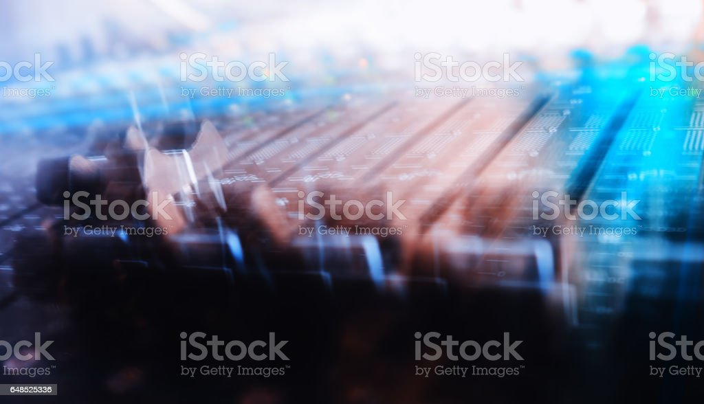 Mixing console motion abstraction stock photo