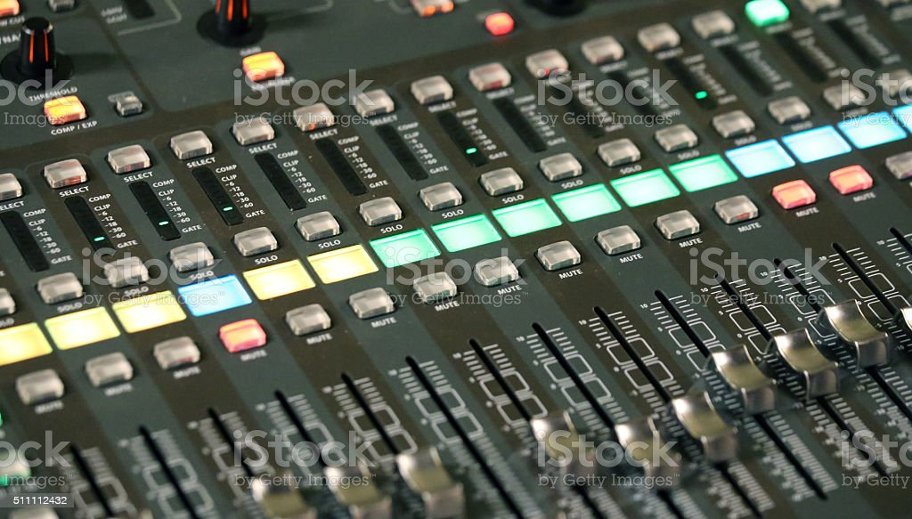 mixing console of a complicated system hi fi stock photo