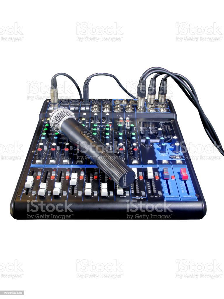 Mixing console with wireless microphones (isolated) stock photo