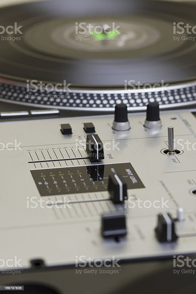 Mixing controller and turntables stock photo