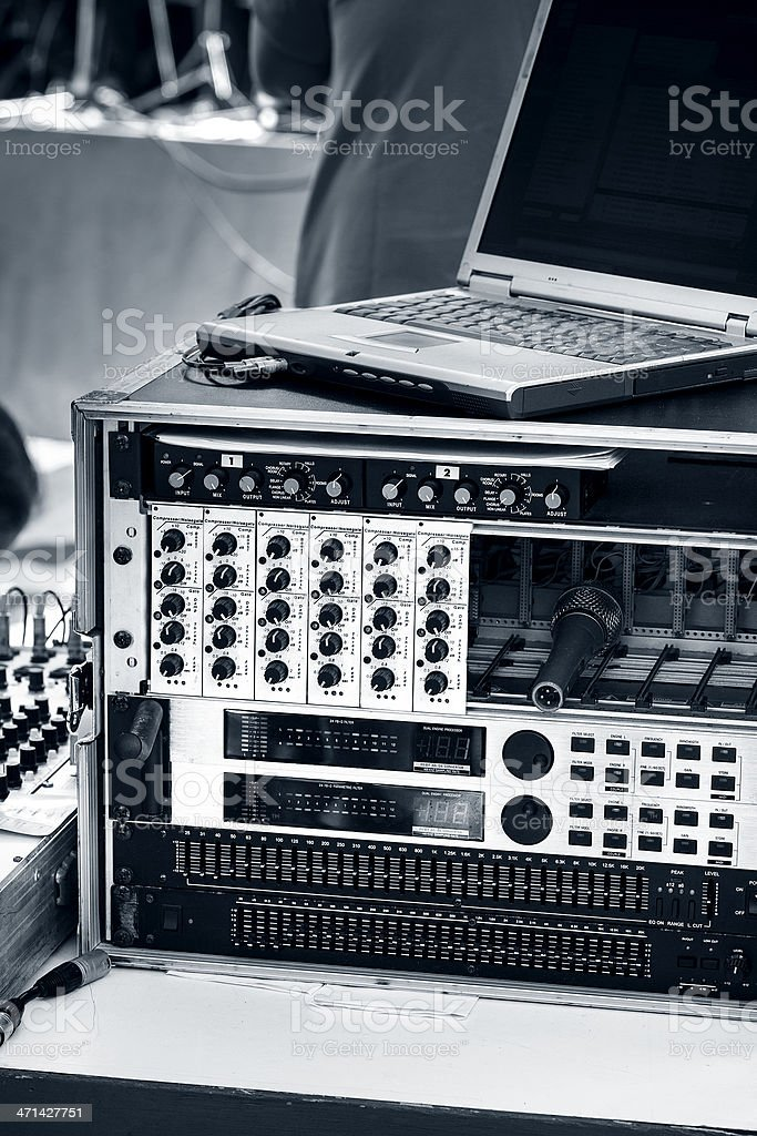 Mixing desk and equalizer, selective focus royalty-free stock photo