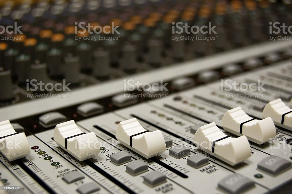 Mixing desk with numerous level levers nobs and dials stock photo