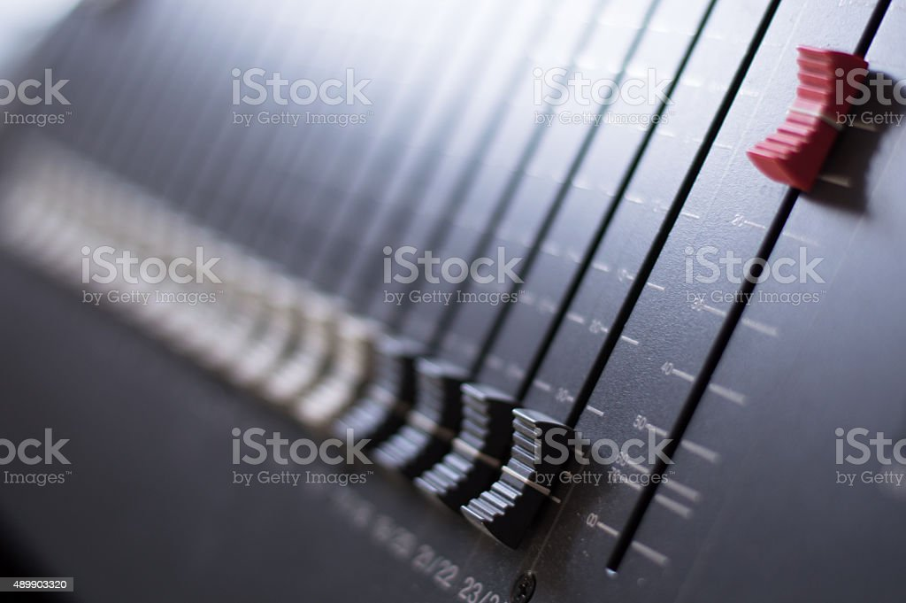 Mixing desk with selective focus stock photo