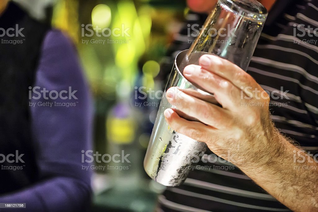 Mixing drinks for a holiday party on New year's Eve royalty-free stock photo
