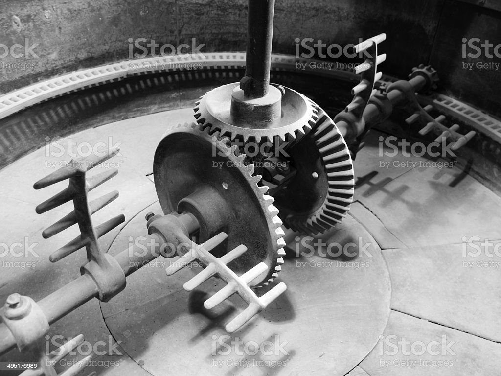 Mixing machinery in old mash tank stock photo