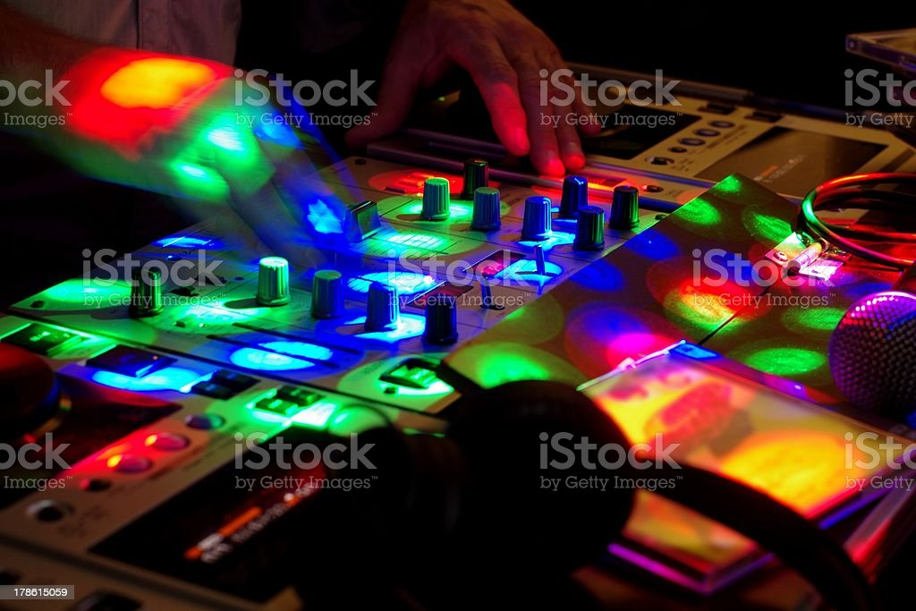DJ mixing music for the party royalty-free stock photo