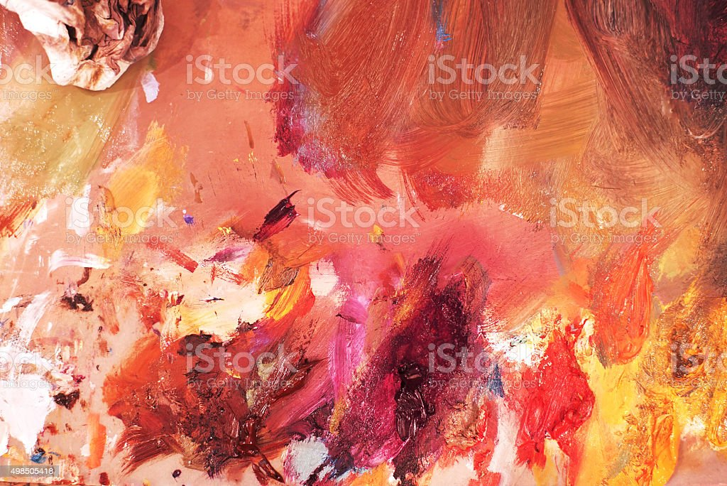 Mixing Oil Colors on a Paint Pallet stock photo