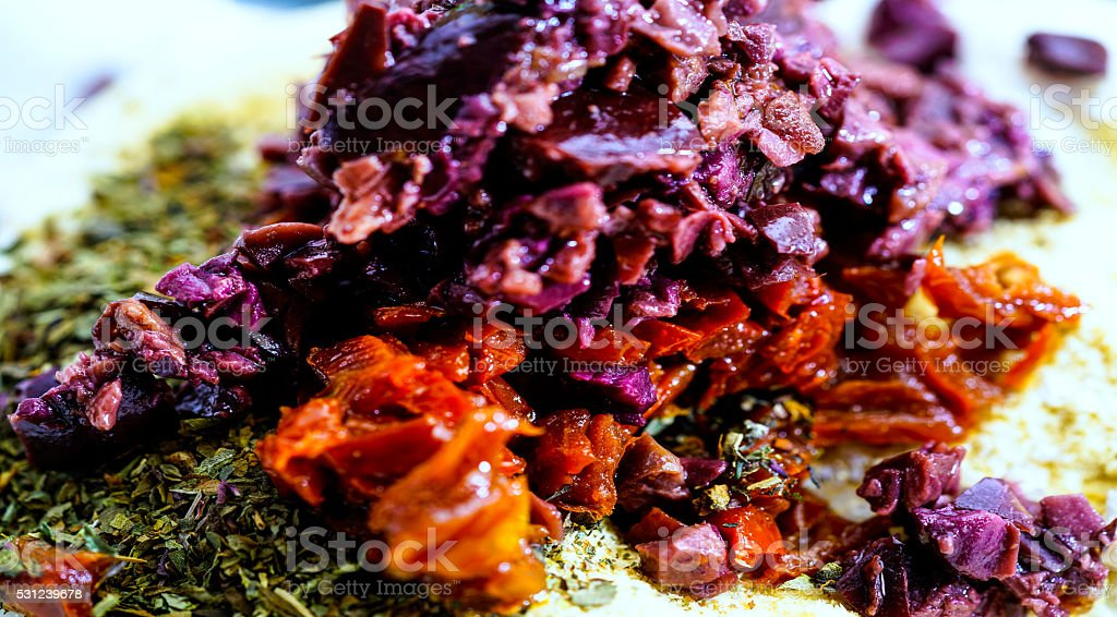 Mixture of additives for Macadamia cheese, Raw Food stock photo