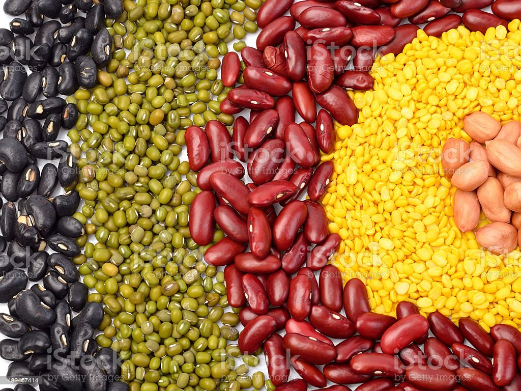Mixture of beans, peas background stock photo