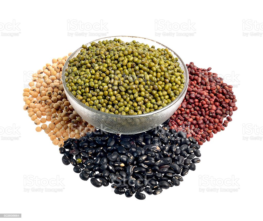 Mixture of beans, peas isolated on white background stock photo