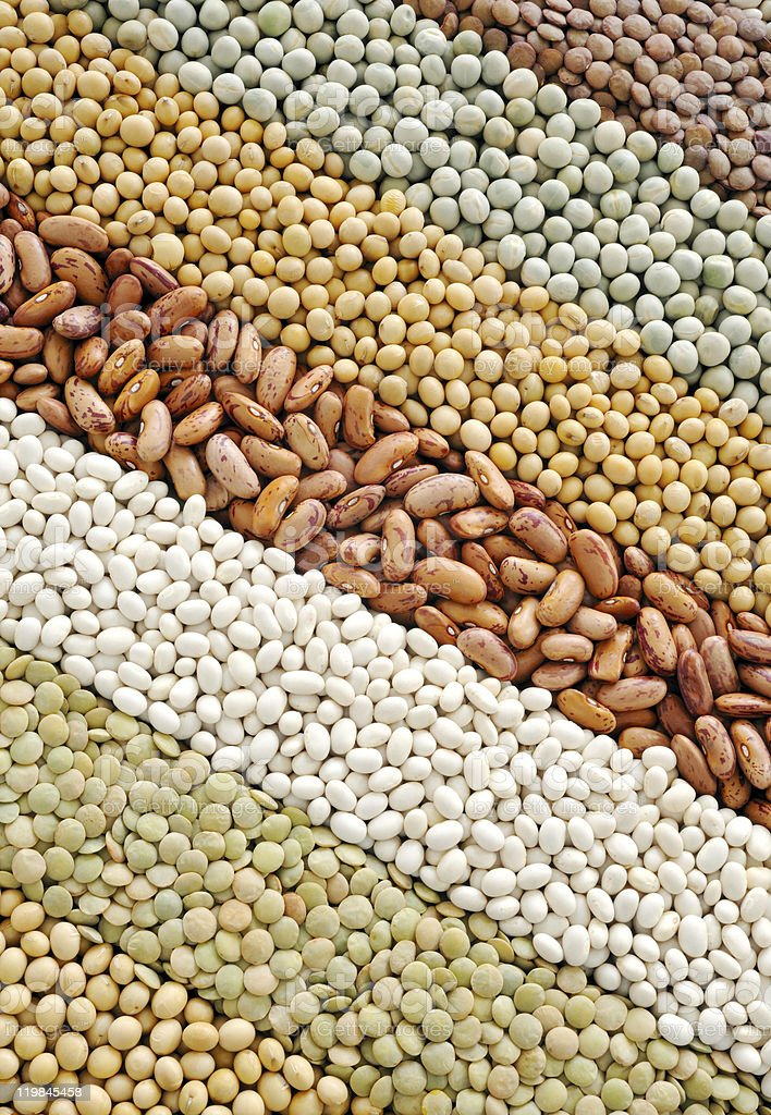 Mixture of dried lentils, peas, soybeans, beans  - background royalty-free stock photo