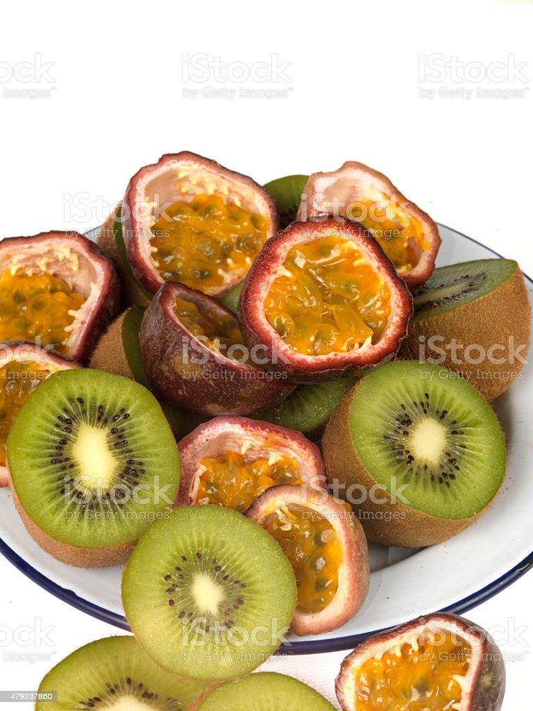 Mixture of Fresh Ripe Kiwi and Passion Fruits stock photo