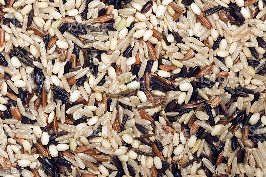 Mixture of wild rice for a food background stock photo