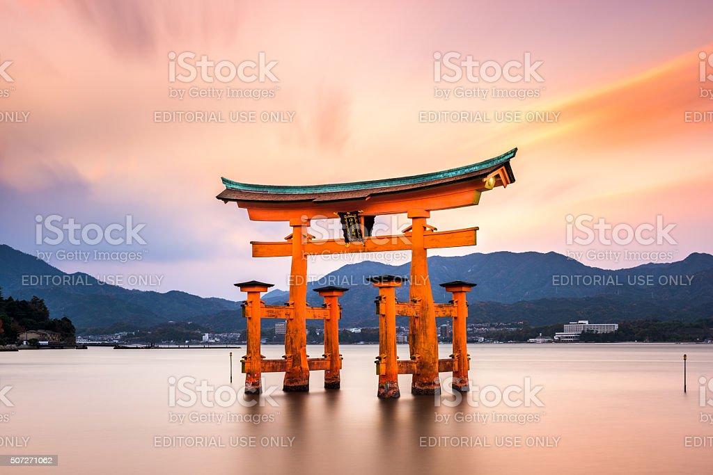 Miyajima Gate in Japan stock photo
