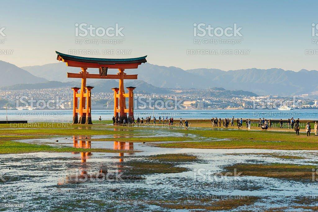 Miyajima Great Torii Gate at Low Tide at Sunset, Japan stock photo