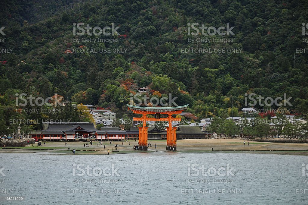 Miyajima red sacred gate in Hiroshima Japan stock photo