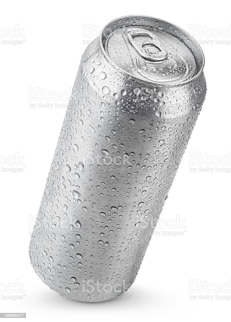 500 ml aluminum can with water drops stock photo