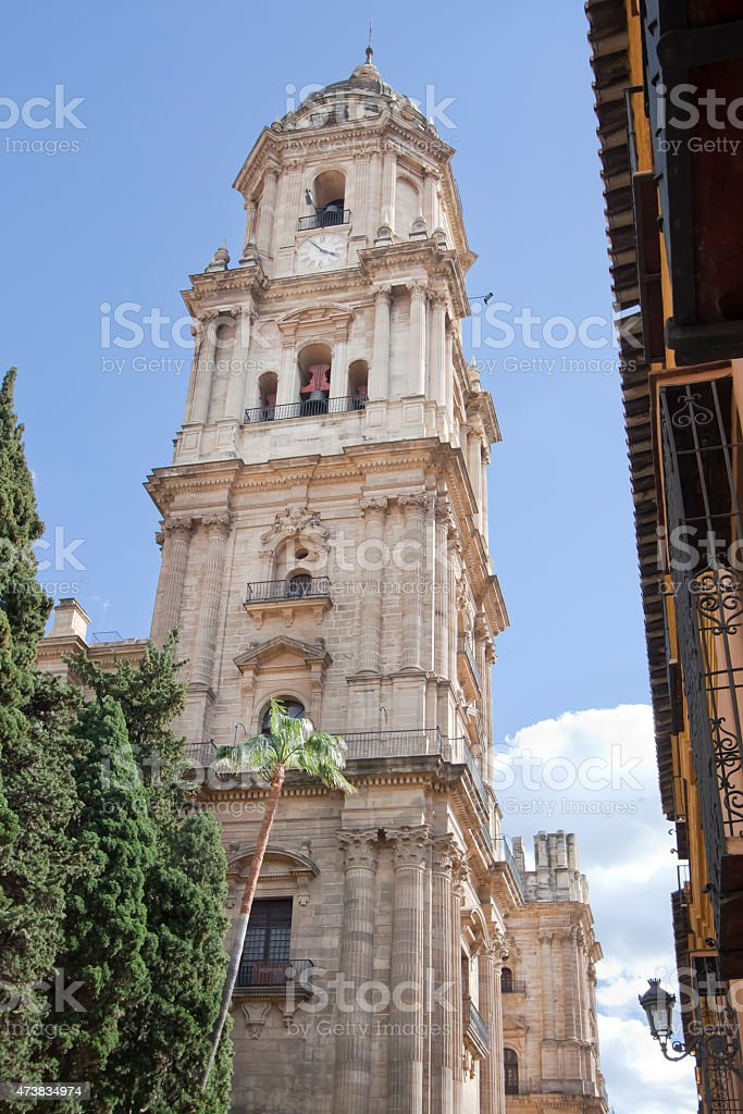 M?laga cathedral tower from the street below. stock photo