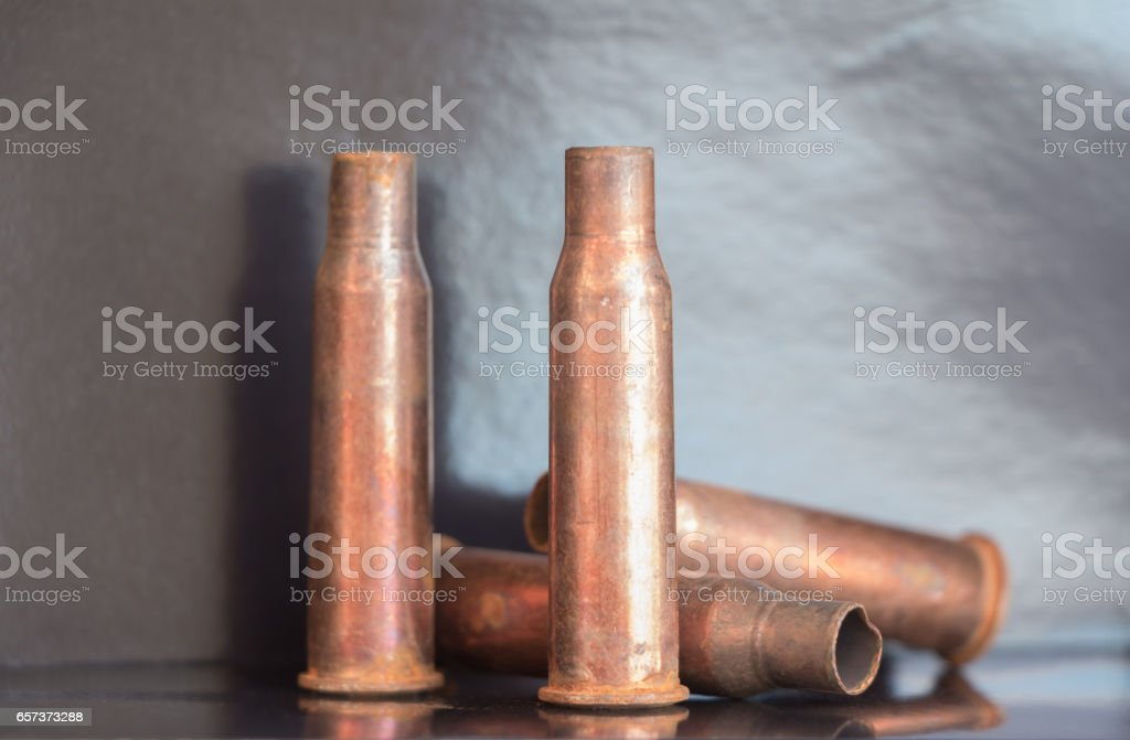 7.62 mm caliber rifle old bullet casings stock photo