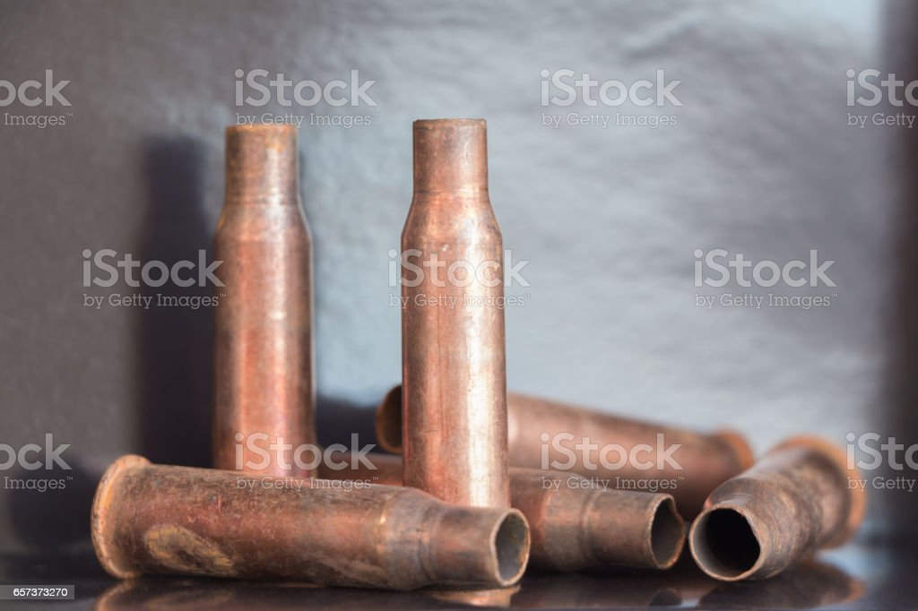 7.62 mm caliber rifle rust bullet casings stock photo