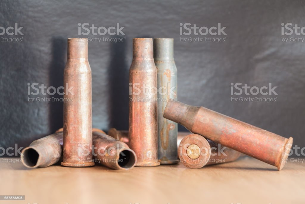 7.62 mm caliber rifle rusting bullet casings stock photo