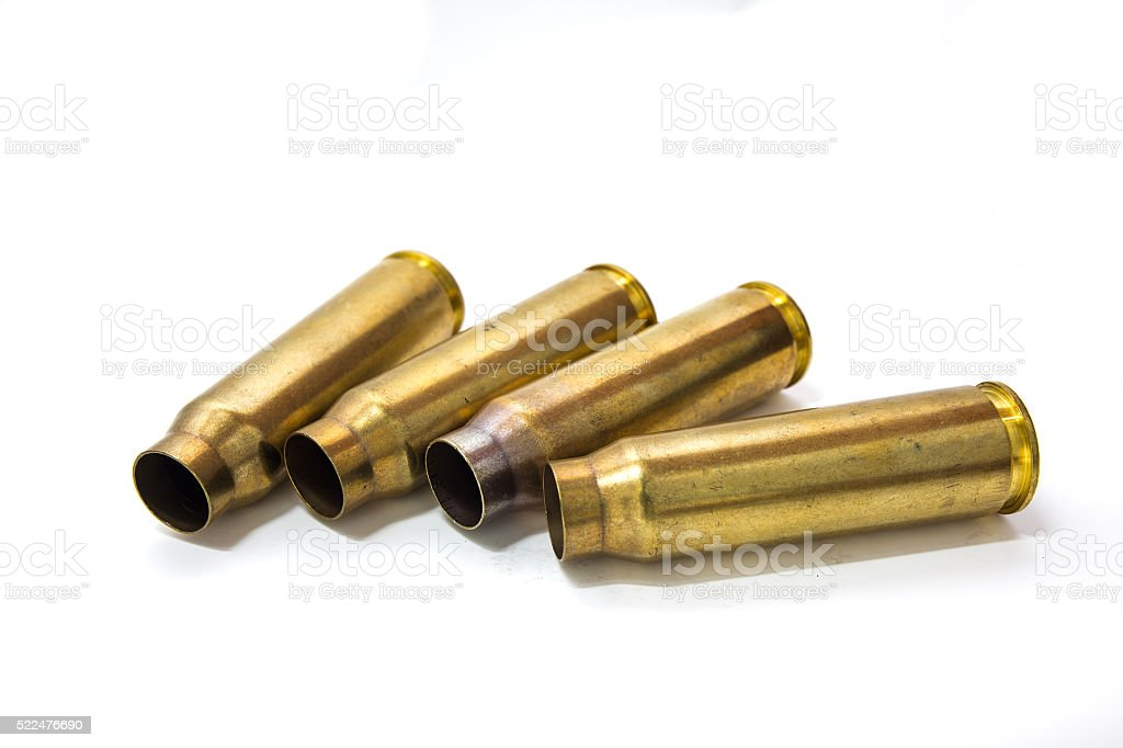 20 mm cartridges cases of aircraft cannon isolated stock photo